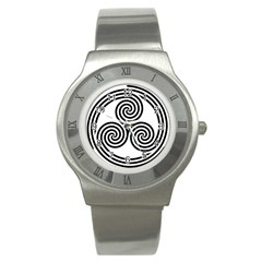 Triple Spiral Triskelion Black Stainless Steel Watch by Mariart