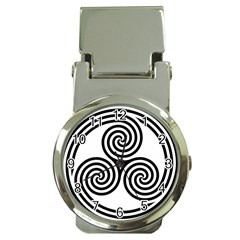 Triple Spiral Triskelion Black Money Clip Watches by Mariart