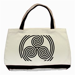 Triple Spiral Triskelion Black Basic Tote Bag by Mariart