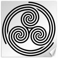 Triple Spiral Triskelion Black Canvas 16  X 16   by Mariart