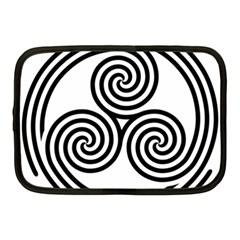 Triple Spiral Triskelion Black Netbook Case (medium)  by Mariart
