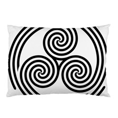 Triple Spiral Triskelion Black Pillow Case by Mariart