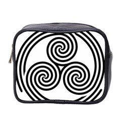 Triple Spiral Triskelion Black Mini Toiletries Bag 2 Side by Mariart