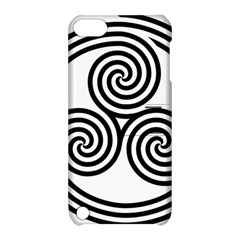 Triple Spiral Triskelion Black Apple Ipod Touch 5 Hardshell Case With Stand by Mariart