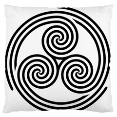 Triple Spiral Triskelion Black Standard Flano Cushion Case (one Side) by Mariart