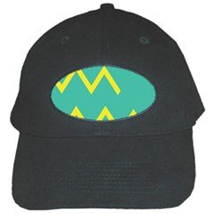 Waves Chevron Wave Green Yellow Sign Black Cap by Mariart