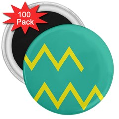 Waves Chevron Wave Green Yellow Sign 3  Magnets (100 Pack) by Mariart