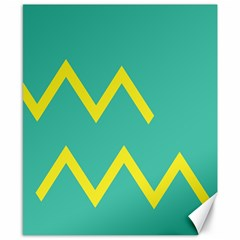 Waves Chevron Wave Green Yellow Sign Canvas 8  X 10  by Mariart