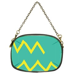 Waves Chevron Wave Green Yellow Sign Chain Purses (one Side)  by Mariart