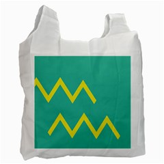 Waves Chevron Wave Green Yellow Sign Recycle Bag (two Side)  by Mariart