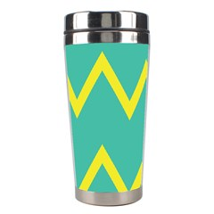 Waves Chevron Wave Green Yellow Sign Stainless Steel Travel Tumblers by Mariart