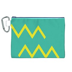 Waves Chevron Wave Green Yellow Sign Canvas Cosmetic Bag (xl) by Mariart