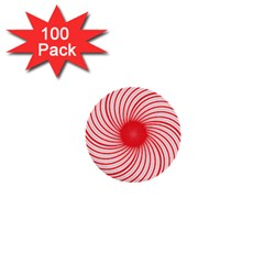 Spiral Red Polka Star 1  Mini Buttons (100 Pack)  by Mariart