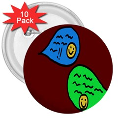 Version Colors Transparent Elements Emoticons Alpha Transparency 3  Buttons (10 Pack)  by Mariart