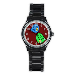 Version Colors Transparent Elements Emoticons Alpha Transparency Stainless Steel Round Watch by Mariart