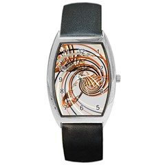 Splines Line Circle Brown Barrel Style Metal Watch by Mariart