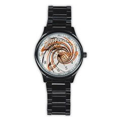 Splines Line Circle Brown Stainless Steel Round Watch by Mariart
