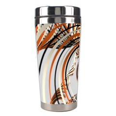 Splines Line Circle Brown Stainless Steel Travel Tumblers by Mariart