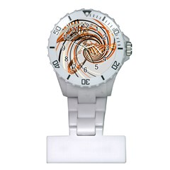 Splines Line Circle Brown Plastic Nurses Watch by Mariart