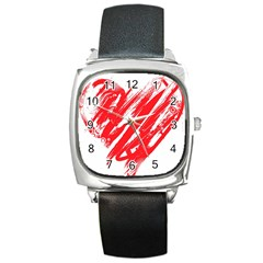 Valentines Day Heart Modern Red Polka Square Metal Watch by Mariart