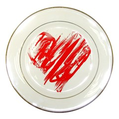 Valentines Day Heart Modern Red Polka Porcelain Plates by Mariart