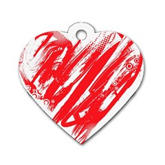 Valentines Day Heart Modern Red Polka Dog Tag Heart (one Side) by Mariart