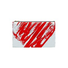 Valentines Day Heart Modern Red Polka Cosmetic Bag (small)  by Mariart