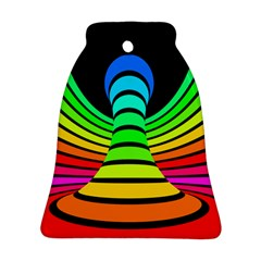 Twisted Motion Rainbow Colors Line Wave Chevron Waves Ornament (bell) by Mariart