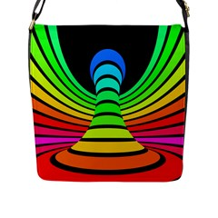 Twisted Motion Rainbow Colors Line Wave Chevron Waves Flap Messenger Bag (l)  by Mariart