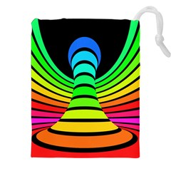 Twisted Motion Rainbow Colors Line Wave Chevron Waves Drawstring Pouches (xxl) by Mariart