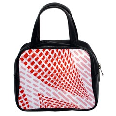 Waves Wave Learning Connection Polka Red Pink Chevron Classic Handbags (2 Sides) by Mariart