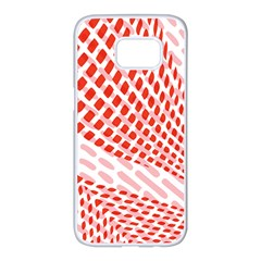 Waves Wave Learning Connection Polka Red Pink Chevron Samsung Galaxy S7 Edge White Seamless Case by Mariart