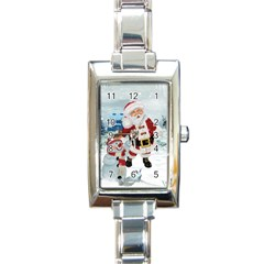 Funny Santa Claus With Snowman Rectangle Italian Charm Watch by FantasyWorld7