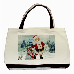 Funny Santa Claus With Snowman Basic Tote Bag by FantasyWorld7