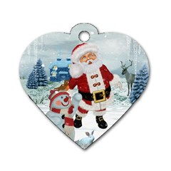 Funny Santa Claus With Snowman Dog Tag Heart (one Side) by FantasyWorld7