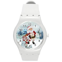 Funny Santa Claus With Snowman Round Plastic Sport Watch (m) by FantasyWorld7