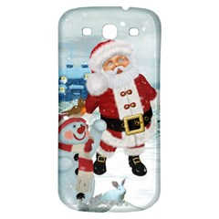 Funny Santa Claus With Snowman Samsung Galaxy S3 S Iii Classic Hardshell Back Case by FantasyWorld7