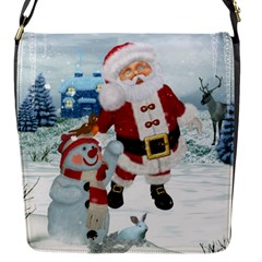 Funny Santa Claus With Snowman Flap Messenger Bag (s) by FantasyWorld7