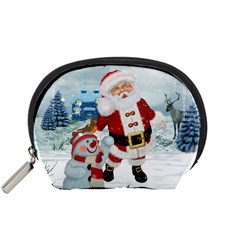 Funny Santa Claus With Snowman Accessory Pouches (small)  by FantasyWorld7
