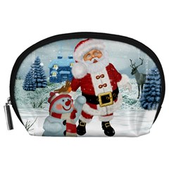 Funny Santa Claus With Snowman Accessory Pouches (large)  by FantasyWorld7