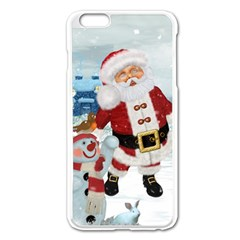 Funny Santa Claus With Snowman Apple Iphone 6 Plus/6s Plus Enamel White Case by FantasyWorld7