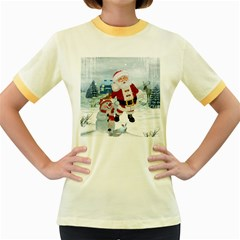 Funny Santa Claus With Snowman Women s Fitted Ringer T Shirts by FantasyWorld7