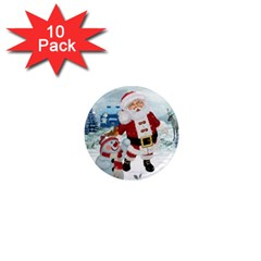Funny Santa Claus With Snowman 1  Mini Magnet (10 Pack)  by FantasyWorld7