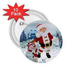Funny Santa Claus With Snowman 2 25  Buttons (10 Pack)  by FantasyWorld7
