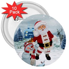 Funny Santa Claus With Snowman 3  Buttons (10 Pack)  by FantasyWorld7