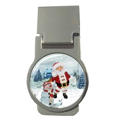 Funny Santa Claus With Snowman Money Clips (round)  by FantasyWorld7
