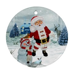 Funny Santa Claus With Snowman Round Ornament (two Sides) by FantasyWorld7