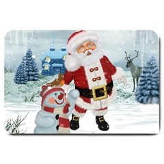 Funny Santa Claus With Snowman Large Doormat  by FantasyWorld7