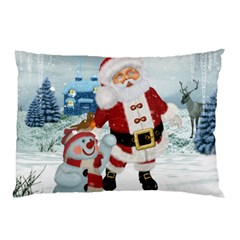 Funny Santa Claus With Snowman Pillow Case by FantasyWorld7
