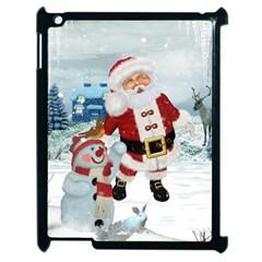 Funny Santa Claus With Snowman Apple Ipad 2 Case (black) by FantasyWorld7